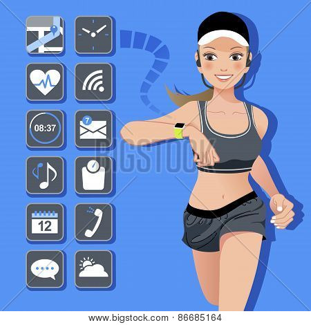 Smart Watch Concept - Sport Woman And Icons