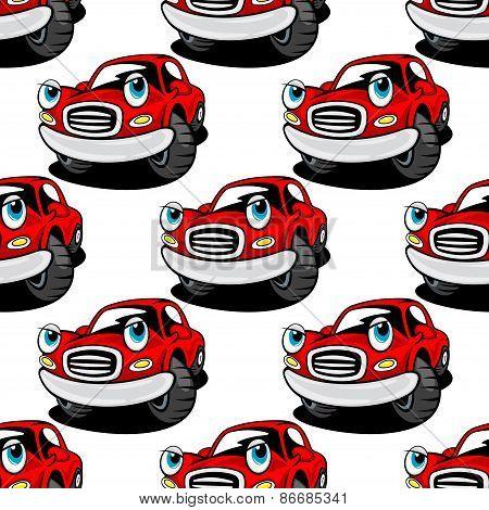 Cartooned cute red car seamless pattern