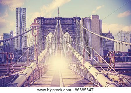 Vintage Filtered Picture Of Brooklyn Bridge, Nyc.