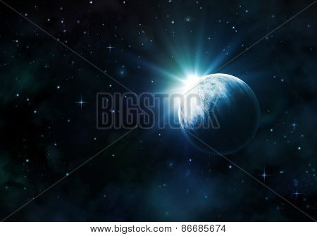 Night sky background with fictional planet, nebula and stars
