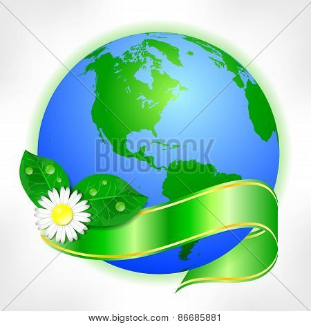 Postcard On April 22 - Earth Day. Globe With Green Ribbon And Flower