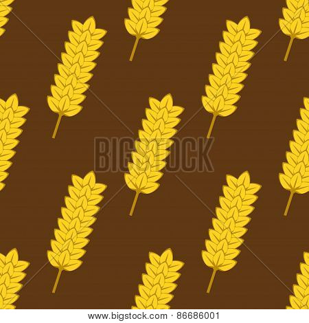 Seamless yellow ripe wheat spikes pattern