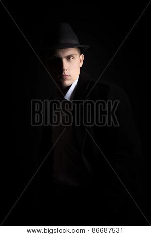 Portrait Of Good-looking Guy, Vintage Fashion