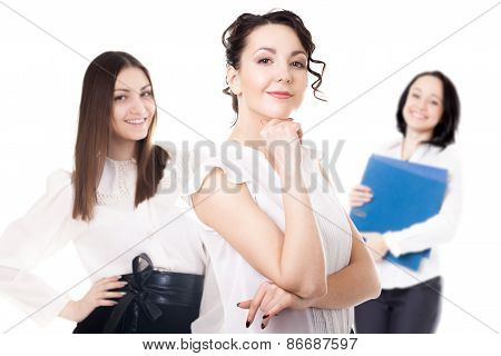 Young Office Women On White Background