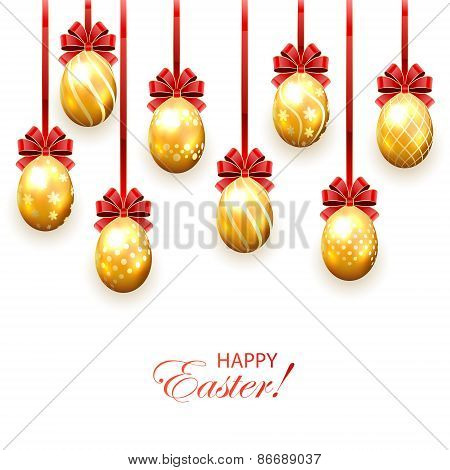 Golden Easter Eggs With Bow