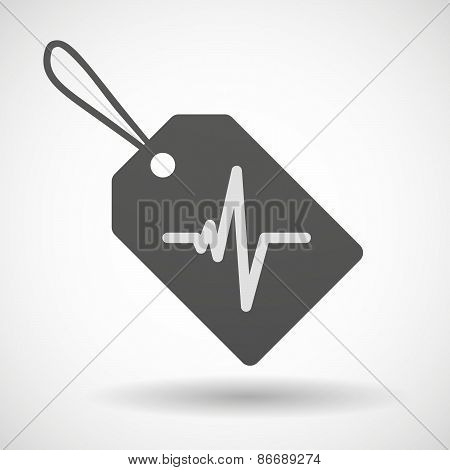 Shopping Label Icon With A Heart Beat Sign