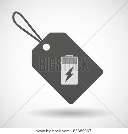 Shopping Label Icon With A Battery