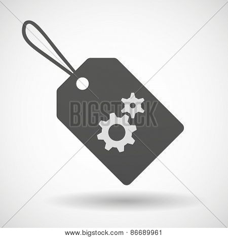 Shopping Label Icon With Gears