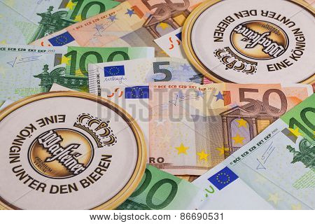Beermats From Warsteiner Beer And Eur Money.