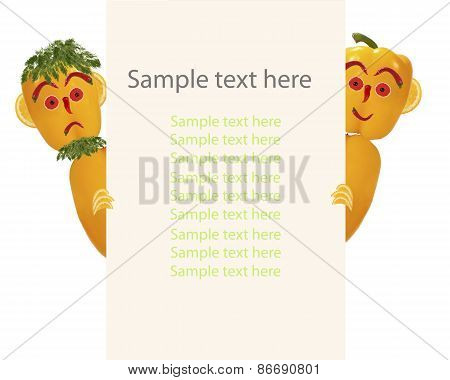Creative Food Concept. Two Funny Little Peppers Look  And Smile With Sample Text.