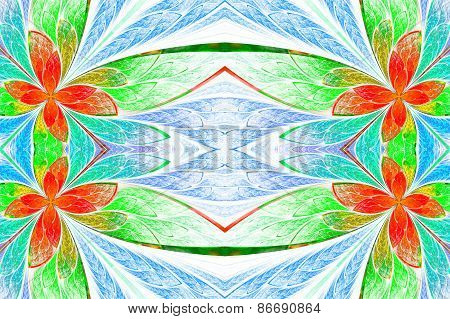 Symmetrical Flower Pattern In Stained-glass Window Style On Light. Green, Blue And  Red Palette. Com