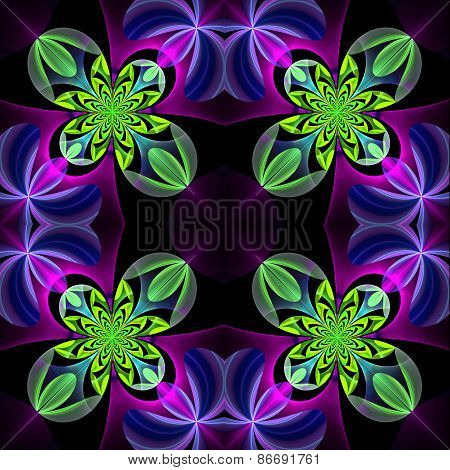 Symmetrical Pattern Of The Flower Petals. Green And Violet Palette. On Black Background. Computer Ge