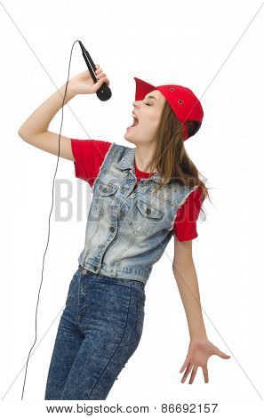 Pretty girl sings karaoke isolated on white
