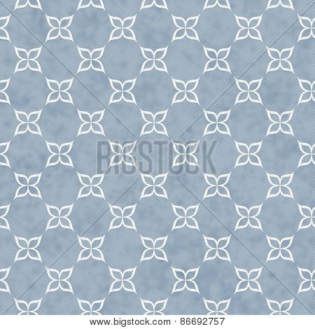 Pale Blue And White Flower Symbol Tile Pattern Repeat Background