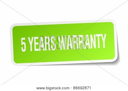 5 Years Warranty Green Square Sticker On White Background