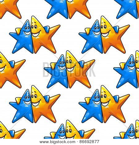 Cartoon hugging stars characters seamless pattern