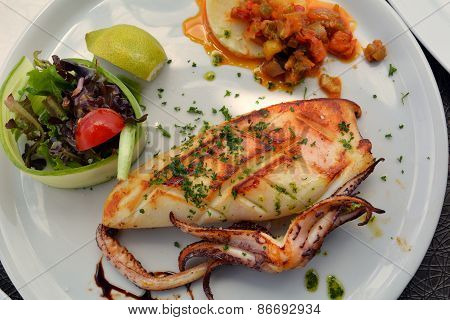 The grilled squid dish is of the Mediterranean cuisine
