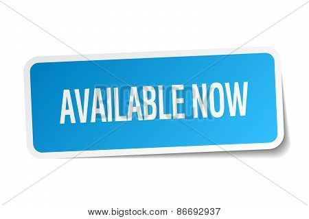 Available Now Blue Square Sticker Isolated On White