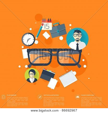 Flat background with papers and glasses icon.Temwork concept. Global communication and working expie