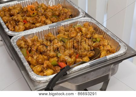 Sweet And Sour Chicken At A Buffet