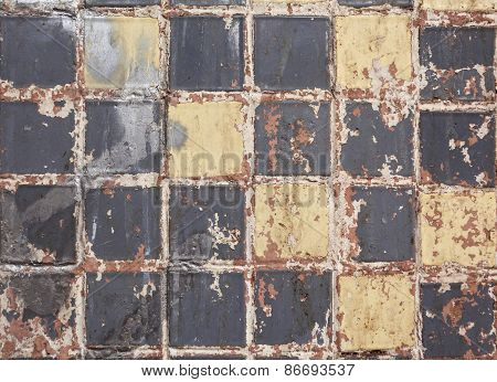 Old Dirty Colorful Tile Background