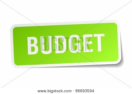 Budget Green Square Sticker On White Background