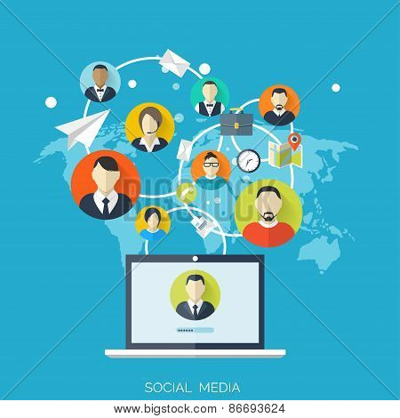 Flat social media and network concept. Business background, global communication. Web site profile a