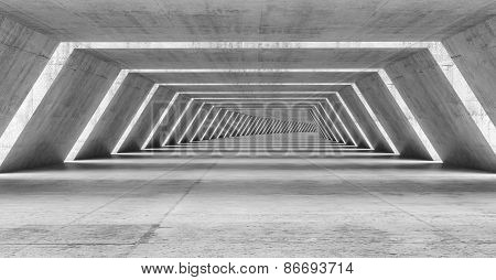 Abstract Illuminated Empty Bent Corridor Interior