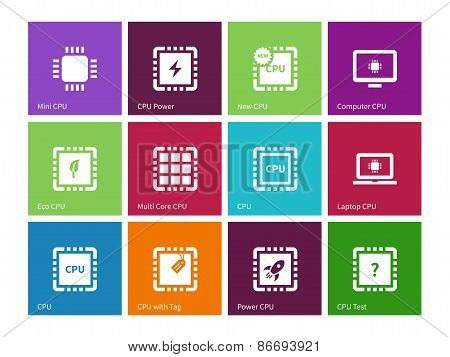 Electronic chip icons on color background.