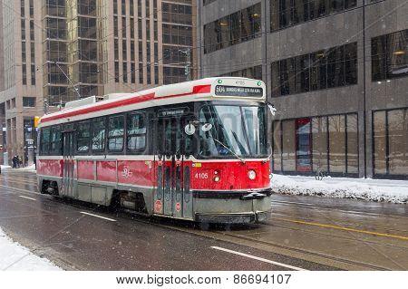 Toronto Streetcar In The Winter