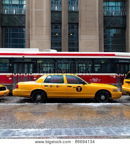 New York City Taxi And A Streetcar