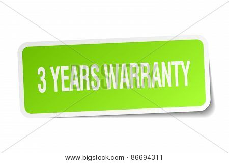 3 Years Warranty Green Square Sticker On White Background
