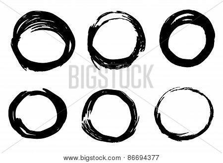 Abstract ink circles texture vector
