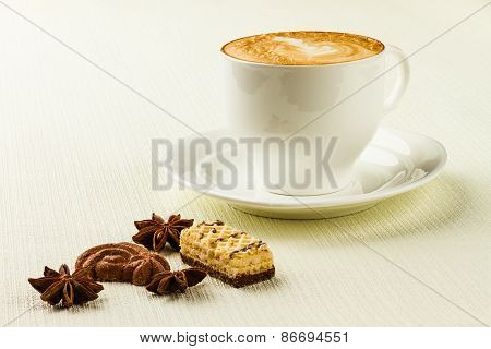 Cup Of Cappucino, Sweet And Spices