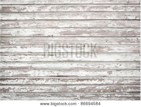 White, grey grunge wooden wall texture, old painted pine planks. Vector illustration