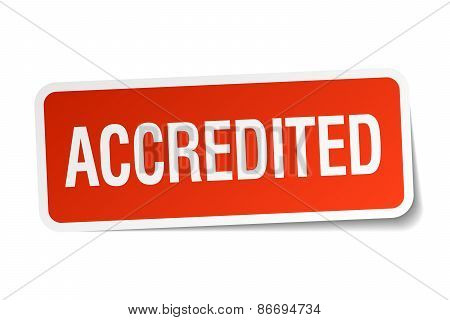 Accredited Red Square Sticker Isolated On White