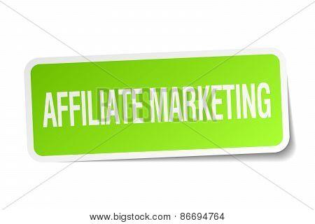 Affiliate Marketing Green Square Sticker On White Background