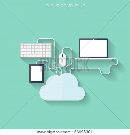 Flat cloud computing and social media background. Data storage network technology. Multimedia conten
