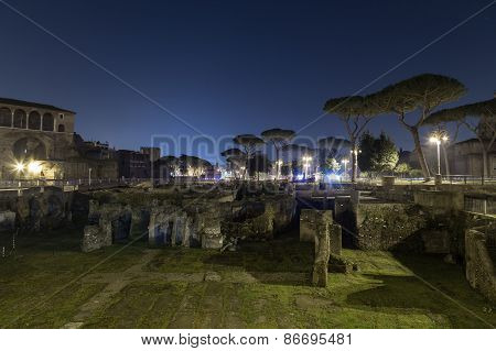 Trajan's Forum (foro Di Traiano) At Night