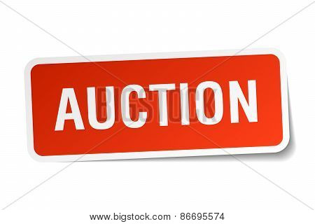 Auction Red Square Sticker Isolated On White