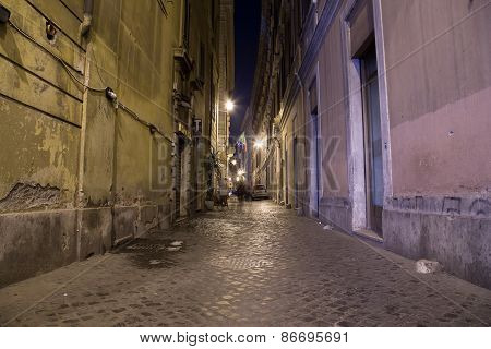 Streets Of Rome At Night