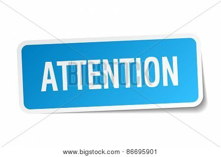 Attention Blue Square Sticker Isolated On White