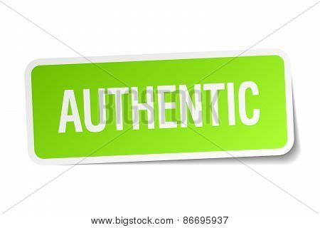 Authentic Green Square Sticker On White Background
