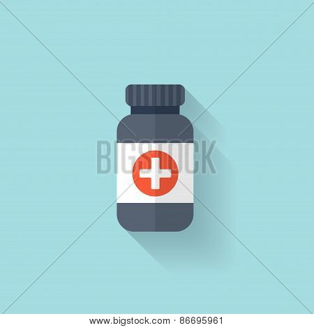 Flat bottle with medical pills icon. Tablets symbol. Health care.