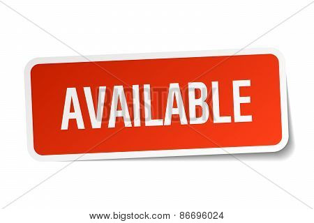 Available Red Square Sticker Isolated On White