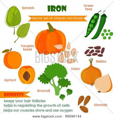 Vitamins And Minerals Foods Illustrator Set 4.vector Set Of Vitamin Rich Foods. Iron-spinach, Pumpki