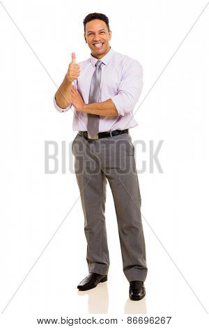 smiling middle aged businessman thumb up on white background