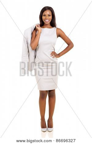 attractive african businesswoman holding her coat isolated on white