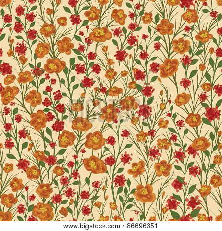 Seamless pattern with lot of small flowers and leaves