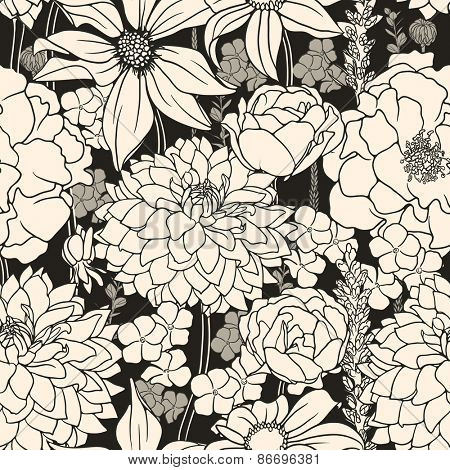Floral seamless pattern with white flowers on black background